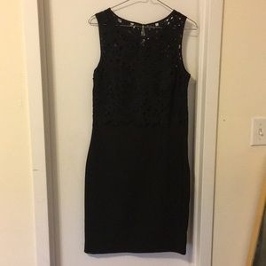 Black H and M dress with crochet lace top, size 8